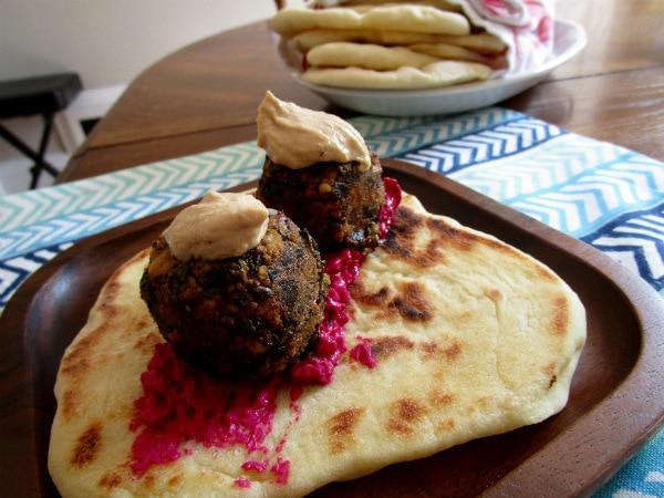 Beet Greens Falafel with Lemon Tahini