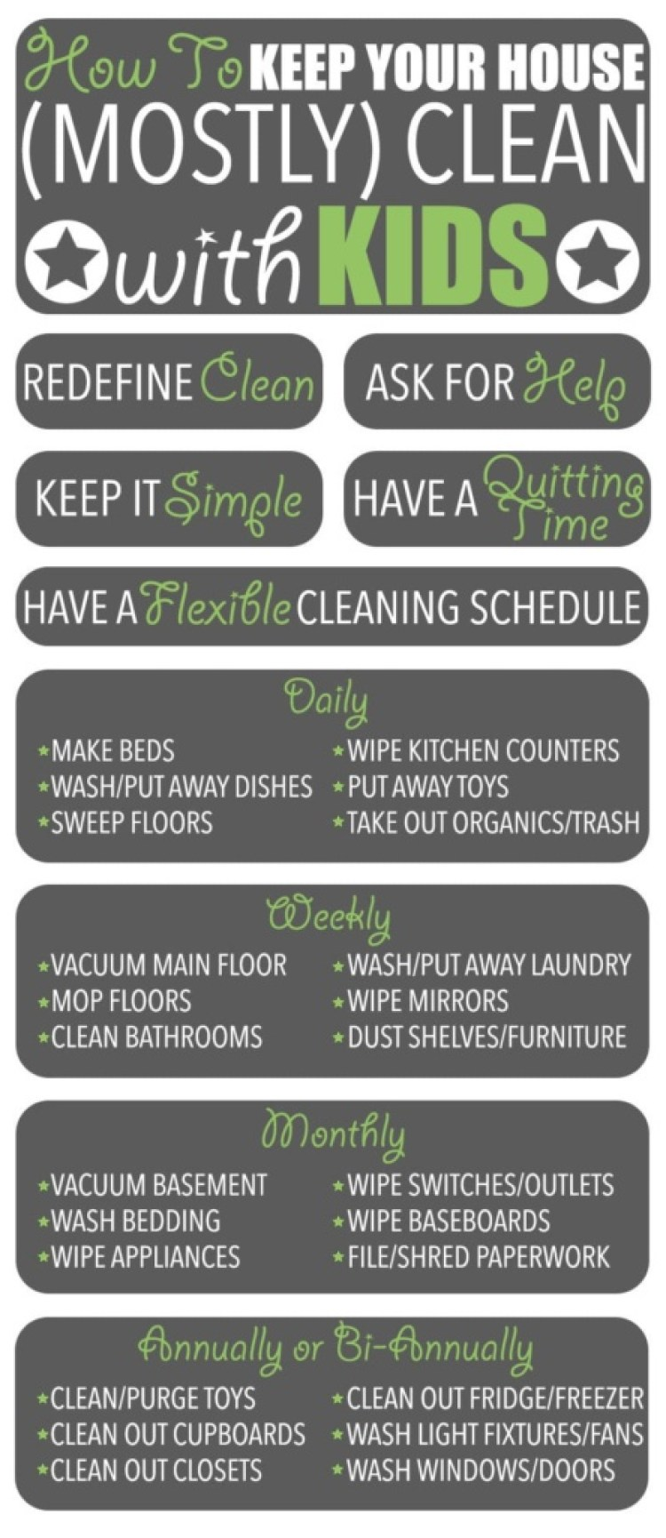 "Cleaning Tips | Have children? Find it impossible to keep your house clean? Me too! But I have figured out how to keep my home ""mostly clean."" Here are my cleaning tips!"