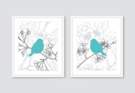 Keep your eco-friendly kid's room simple with nature-inspired decor like these beautiful bird prints.