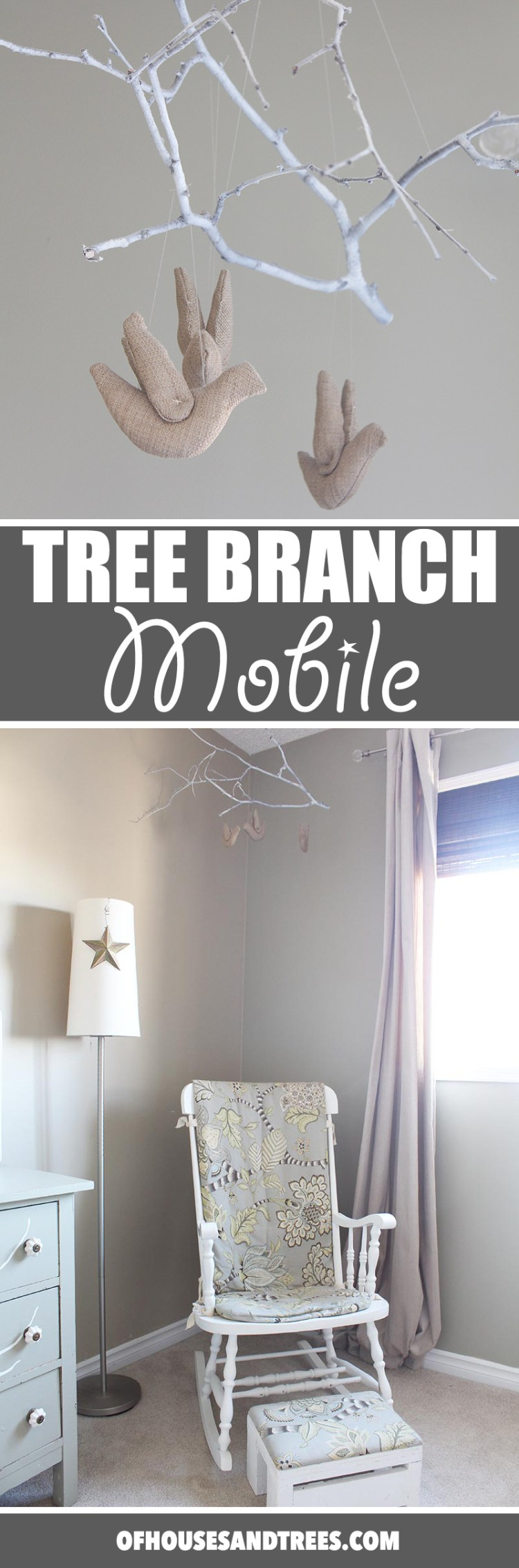 Super charming and whimsical DIY tree branch mobile made with a spray-painted poplar branch, stuffed birds and fishing line.