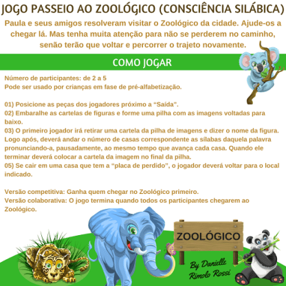 """Jogo """"Passeio ao Zoológico"""" (Arquivo Digital)"""