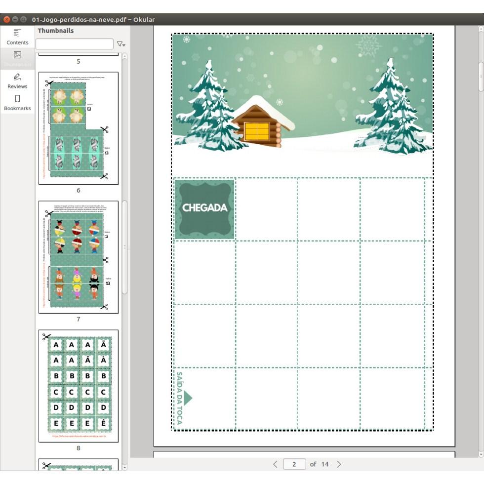 Jogo Perdidos na Neve com atividades de escrita em PDF
