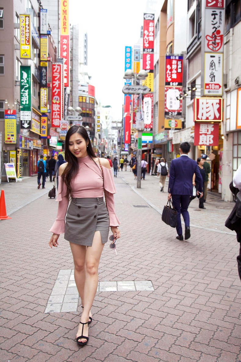 Storets Off The Shoulder Ruffle Top in Shibuya, Tokyo, Japan | Of Leather and Lace | A Fashion and Travel Blog by Tina Lee