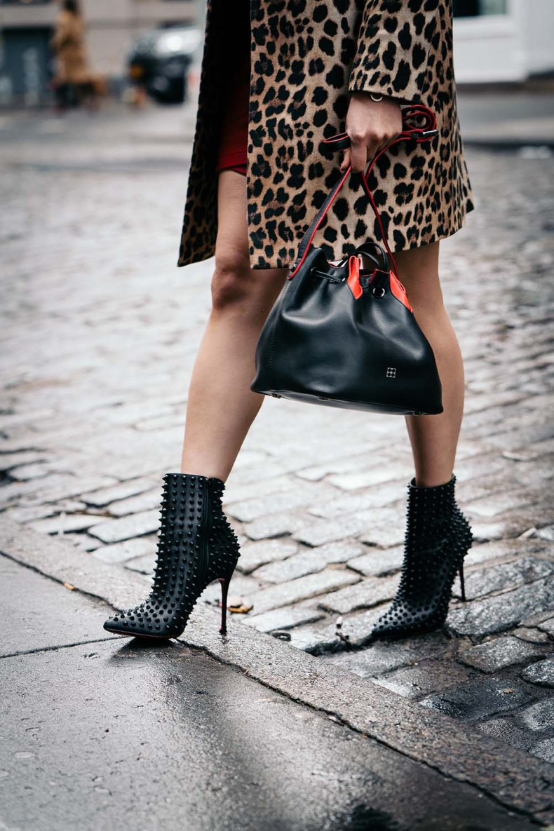 Parisa NYC Bucket Bag | Christian Louboutin Boots | Off The Shoulder Shirts for Spring | Of Leather and Lace - A Fashion Blog by Tina Lee