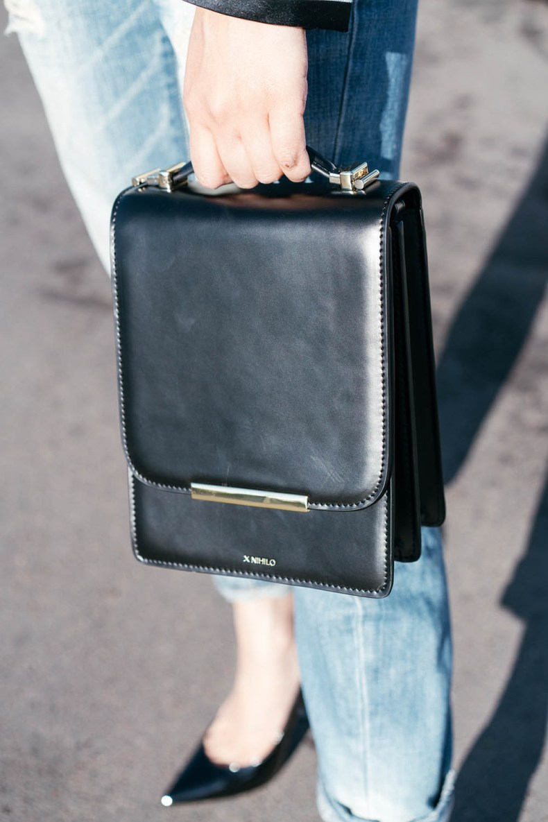 X Nihilo Sasha Bag | How to Style a Tuxedo Jacket Casually - in Paris, France | Of Leather and Lace