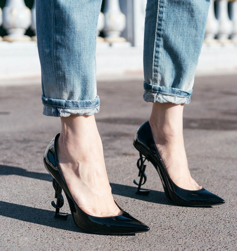 YSL Logo Heels | How to Style a Tuxedo Jacket Casually - in Paris, France | Of Leather and Lace