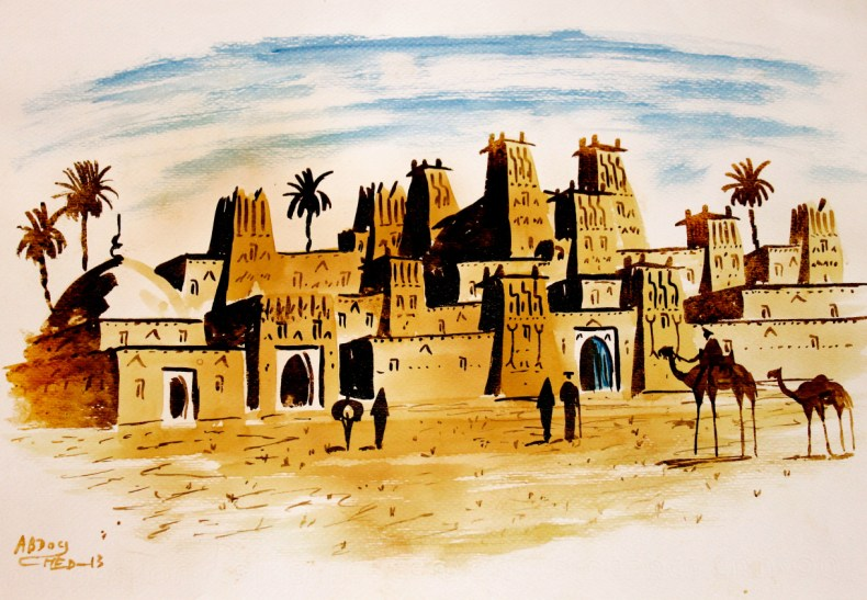 Tea Painting of Ait Benhaddou, Set of Yunkai, Game of Thrones | Of Leather and Lace