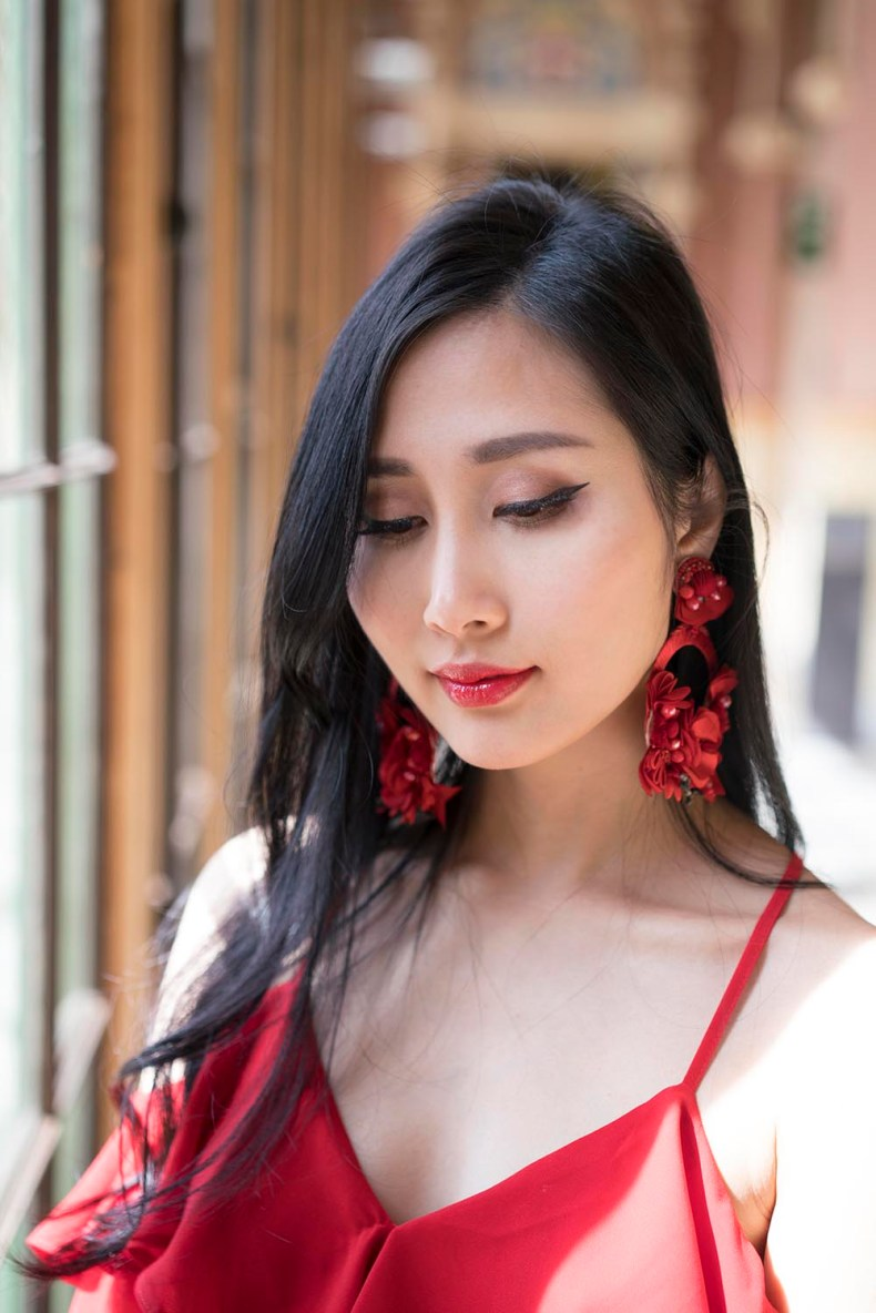 Red ASOS top and Ranjana Khan Earrings at Hospital Sant Pau | Of Leather and Lace