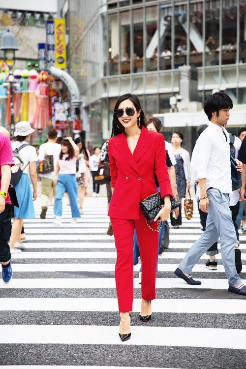 How To Rock A Red Suit For Women | in Tokyo, Japan | Of Leather and Lace