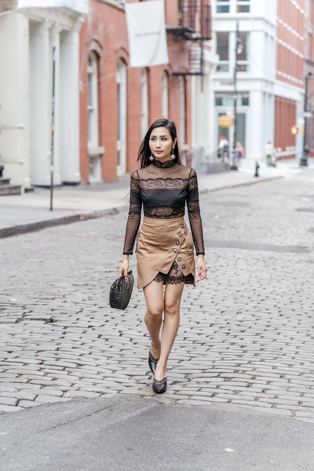 How To Wear Mules This Fall | Of Leather and Lace - A Fashion & Travel Blog by Tina Lee | Self Portrait Utility Skirt, Thistle & Spire Lace Bodysuit, Cult Gaia Bag, 3.1 Phillip Lim Studded Mules
