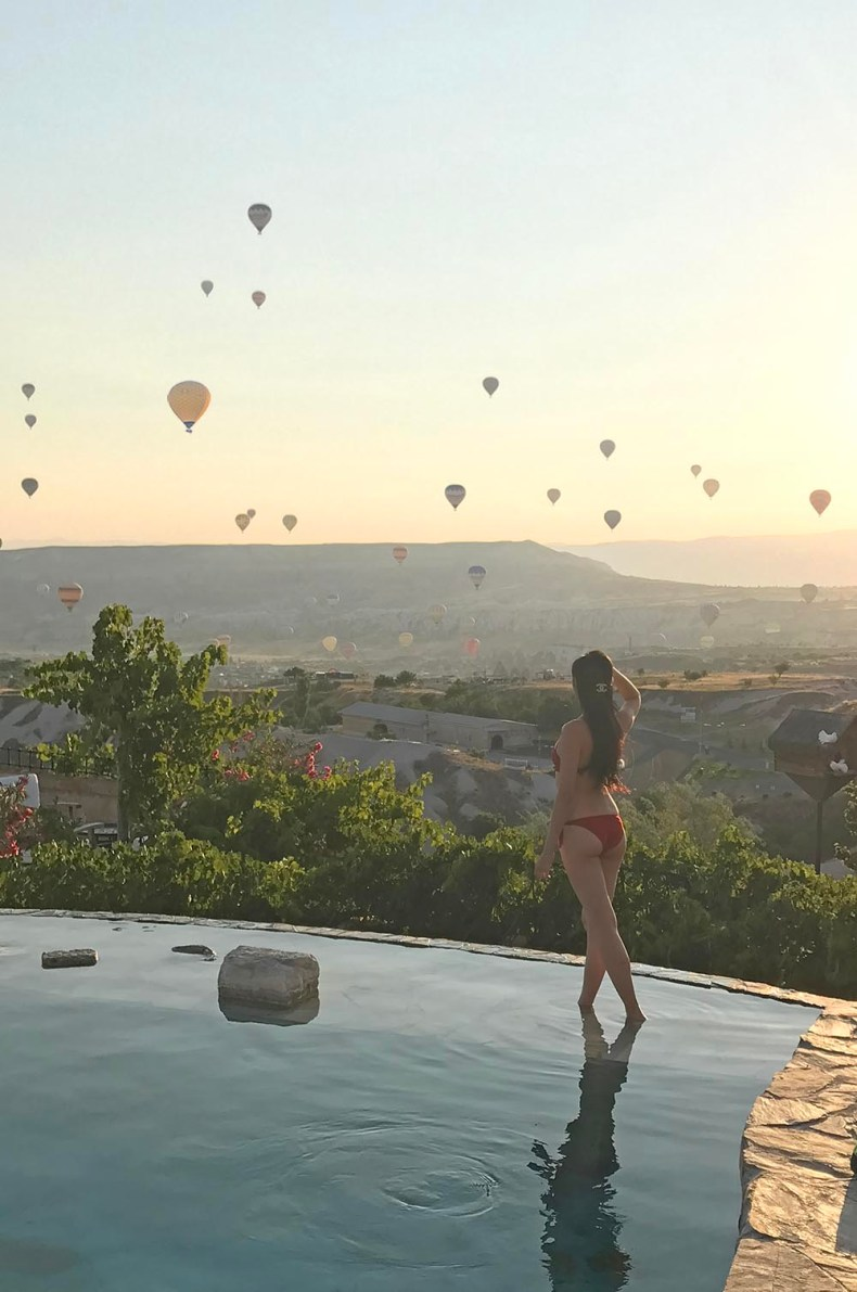 Tina Travels: Where To Stay in Cappadocia, Turkey - Museum Hotel Pool and Hot Air Balloons | Of Leather and Lace