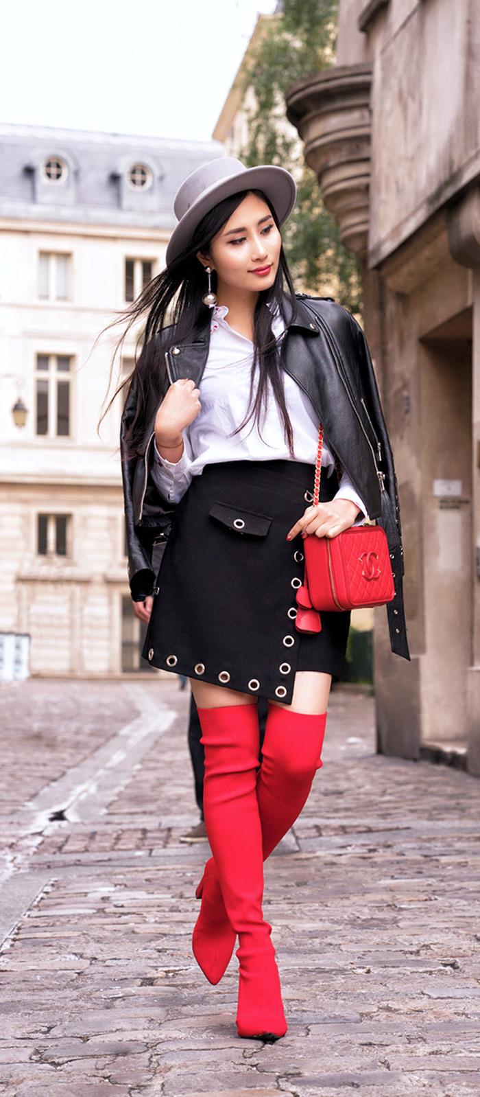 red dress knee high boots