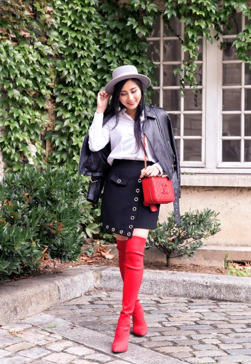 Red Over The Knee Boots | OF Leather and Lace | Fashion Blog by Tina Lee
