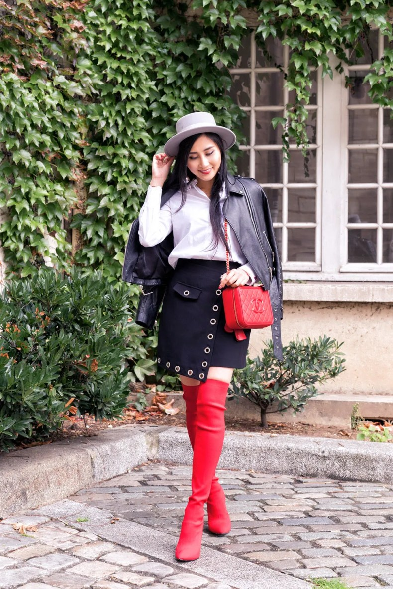 How to Style Red Over The Knee Boots | Ofleatherandlace.com