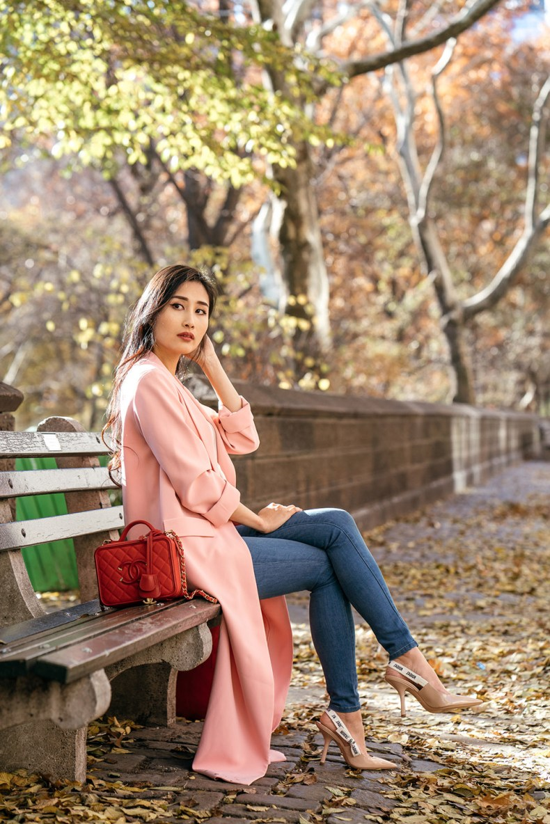 Everyone Needs a Duster Coat - Pink Long Duster Coat Outfit in Central Park | in NYC | Ofleatherandlace.com