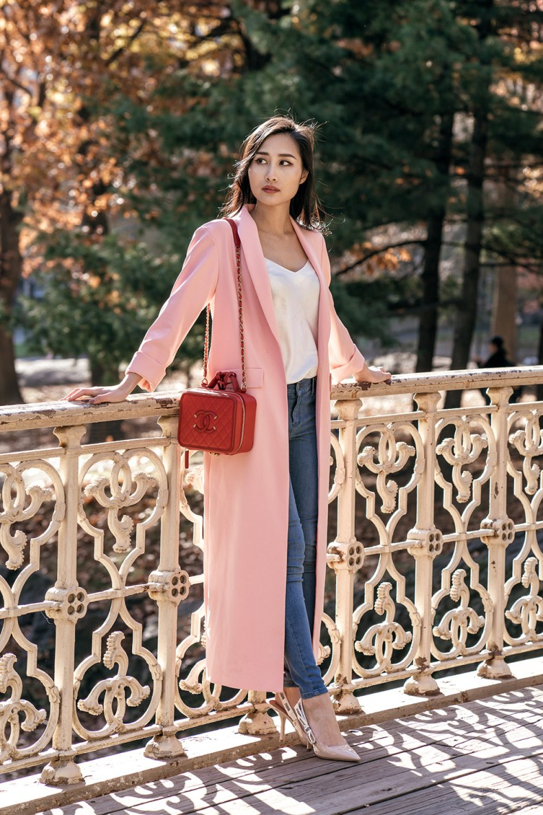 Long Pink Duster Coat Satin Cami and Jeans | in NYC | Ofleatherandlace.com