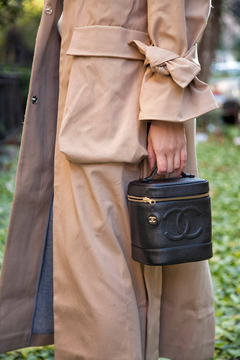 Chanel Vanity Bag with Long Trench Coat | in NYC | Ofleatherandlace.com
