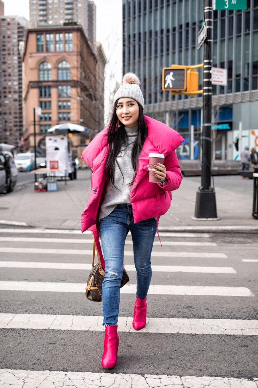 pink jacket, winter fashion