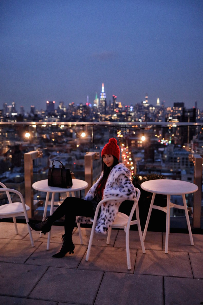 50 Bowery Hotel Rooftop View at Night | in NYC | Ofleatherandlace.com