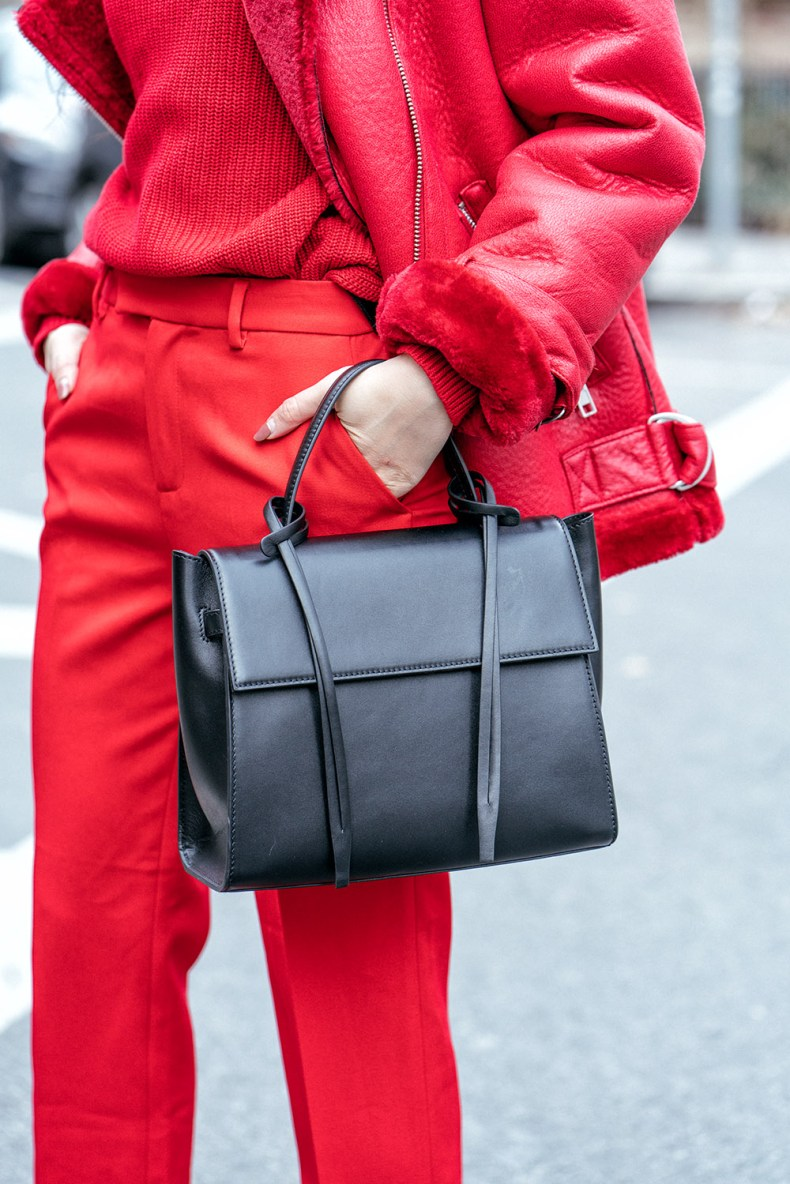 How to Wear Red from Head to Toe - Red Shearling Coat with Red Sweater, Red Trousers, and Black XNihilo Bank Bag, Asian Blogger, NYC Fashion Blogger | in NYC | Ofleatherandlace.com