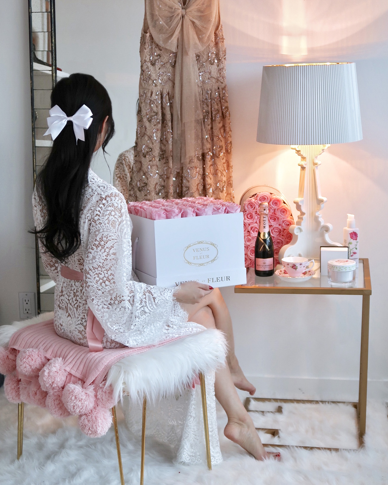 9 Days of Valentine – Day 7: Lounging in Lace and My Lingerie Picks | Of Leather and Lace - Fashion and Travel Blog by Tina Lee | White lace robe, pink roses, feminine decor, room decor, white decor, pink decor