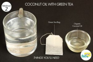 Drink green tea with a tablespoon of coconut oil to lose weight fast and naturally.