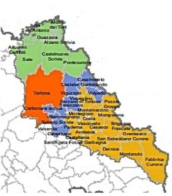 La cartina coi comuni del Tortoense