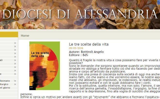"""La Diocesi di Alessandria parla del libro """"Le tre scelte della vita"""" scritto da Angelo Bottiroli"""