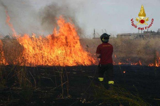 Primo incendio estivo a Diano marina con l'intervento dei pompieri alla periferia della città
