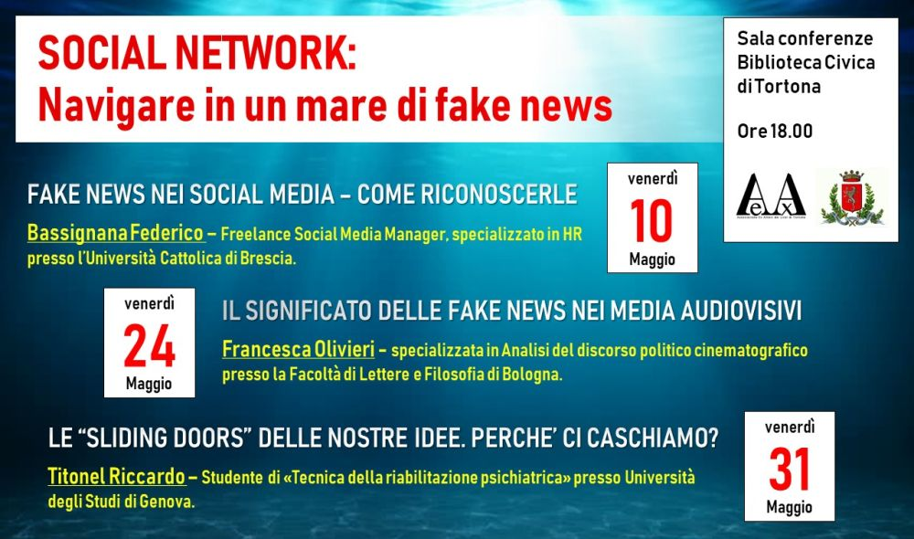 Venerdì a Tortona il primo di tre incontri contro le nefandezze di internet e le notizie false diffuse in rete
