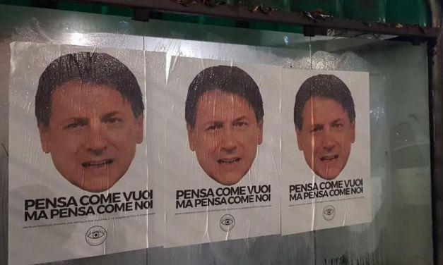 A Tortona manifesti anonimi dedicati al presidente del Consiglio Giuseppe Conte