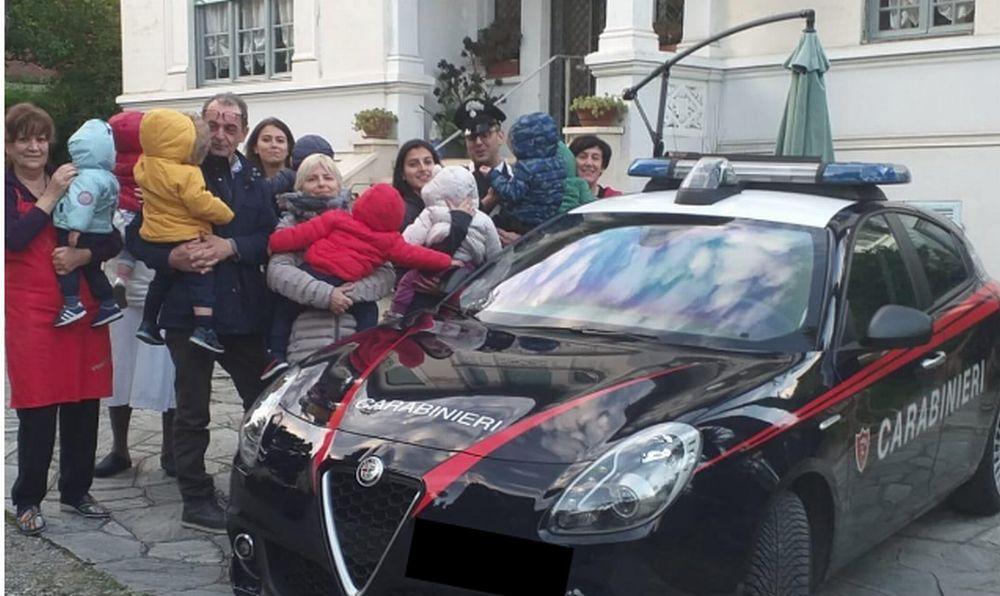 Merenda coi bambini a Villa Ave per i Carabinieri di  Sanremo