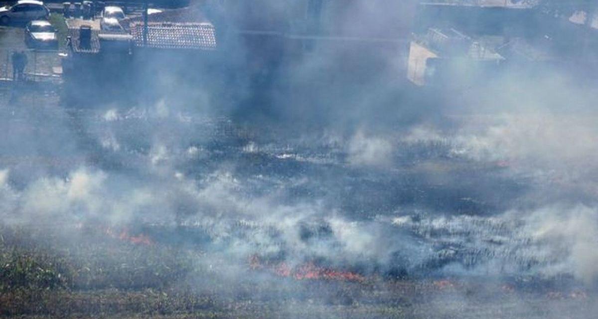 Non fa freddo ma forse qualcuno si diverte a incendiare i campi a Carbonara Scrivia. Le immagini