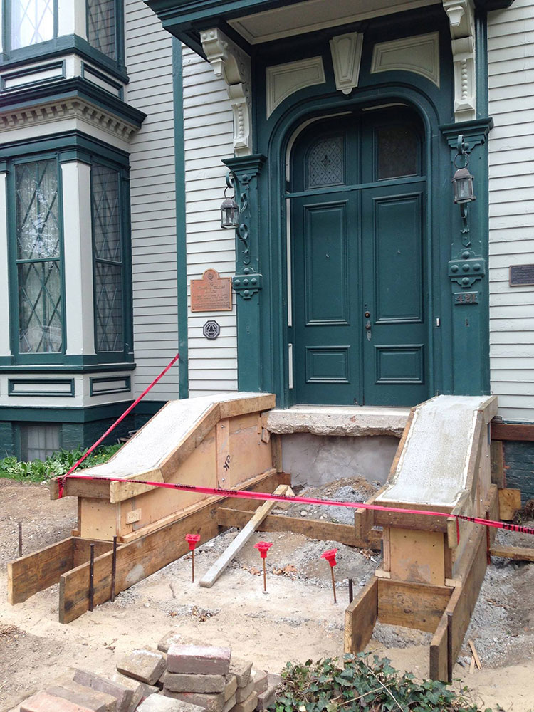 Renovation of front stairs to original look of the Mansion