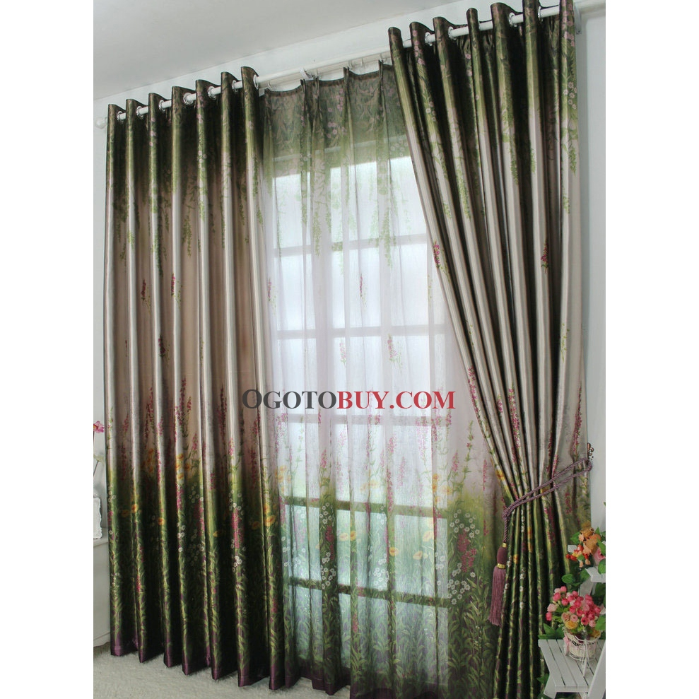 Summer Feeling Green Printed Eco Friendly Curtains
