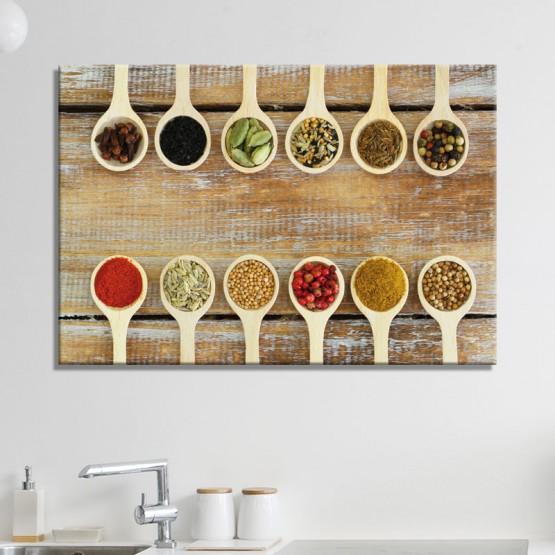 tableau cuillere a epices decoration pour cuisine deco esprit nature oh mon tableau