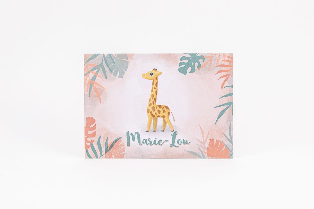 geboortekaartje op maat marie-lou dieren tropisch botanisch pastel illustratie grafisch ontwerp oh deer design