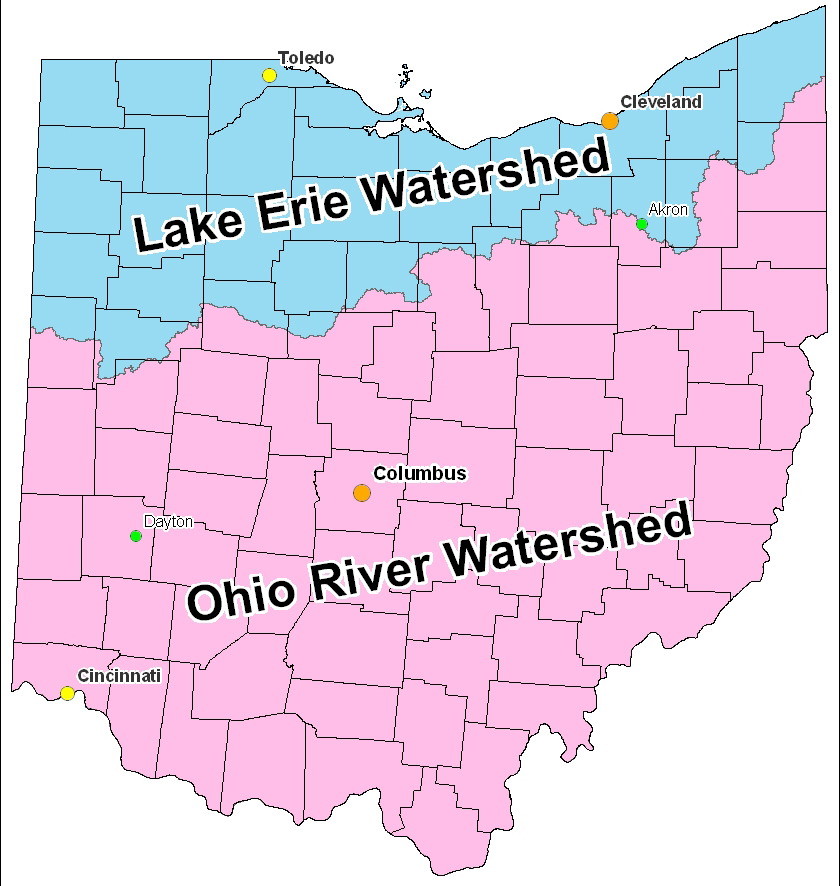 The Ohio River Watershed Ohio River Mainstem System Map - Ohio river map