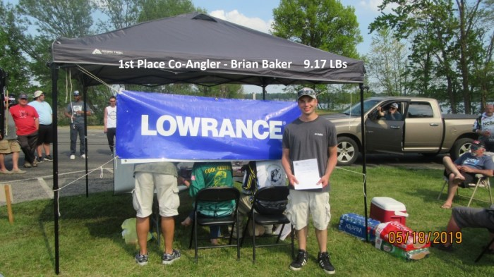 1st Place Co-Angler -  Brian Baker 9.17 LBs