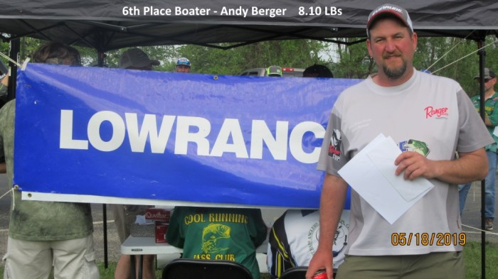 6th Place Boater - Andy Berger  8.10 LBs
