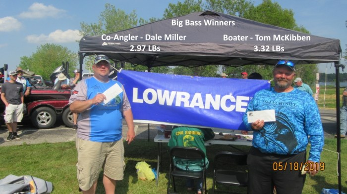 Big Bass Winners - Co-Angler Dale Miller 3.84 LBs & Boater Tom McKibben 3.32 LBs