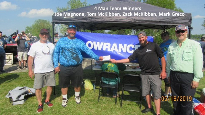 4 Man Team Winners - (Left to Right) Joe Magnone, Tom McKibben, Zack McKibben, Mark Greco  29.17 LBs