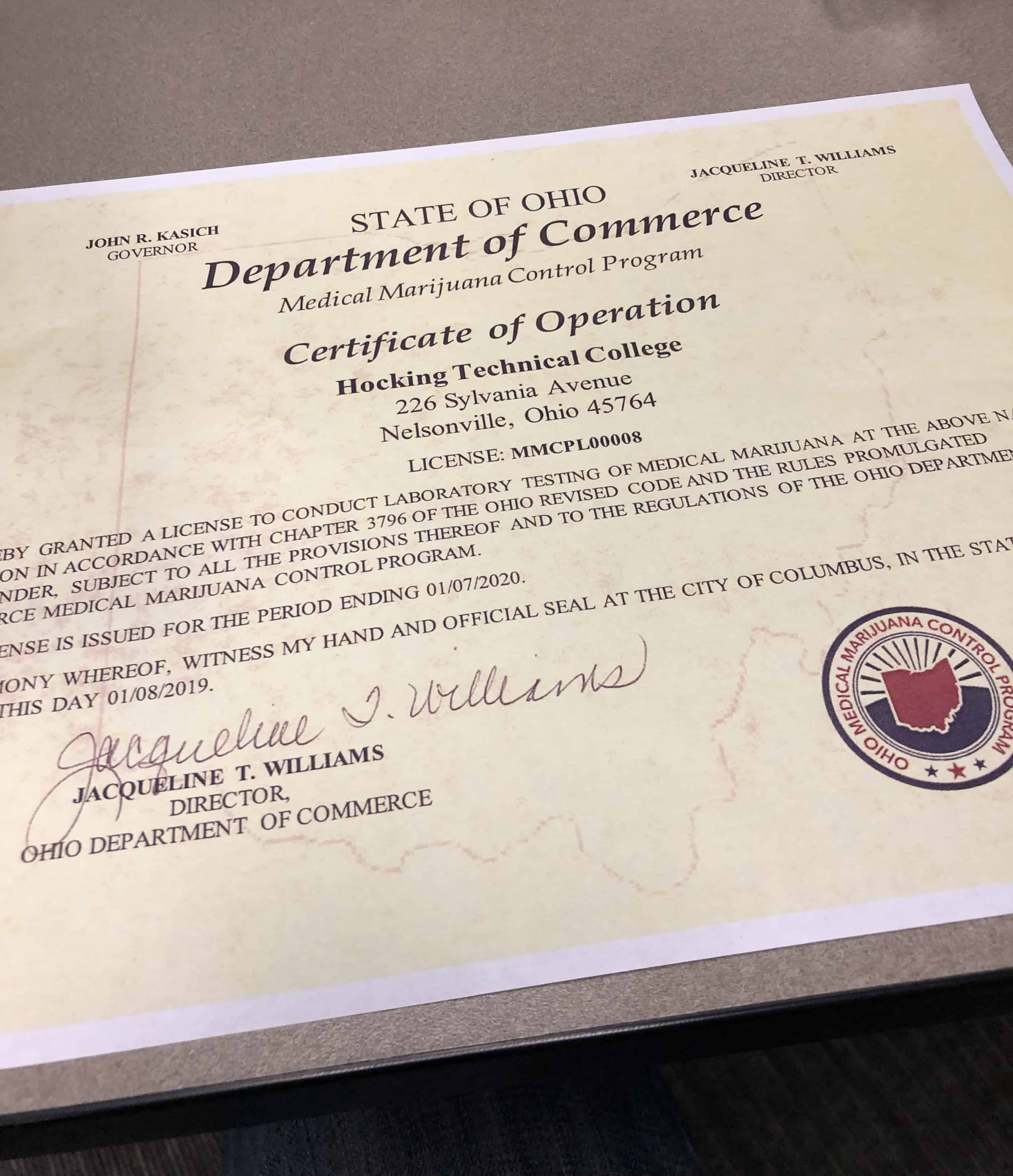 Hocking College Cannabis Analytical Lab Certificate of Operation