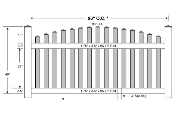 4-Vinyl Picket Fence Arched