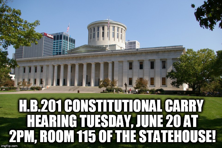 Constitutional Carry Hearing this TUESDAY: Let's Pack the House!
