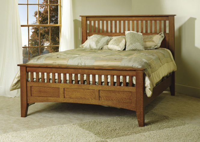 Queen Mission Antique Bed With Footboard
