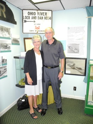 "Carolyn & ""Buck"" Crawford visit the Locks & Dam Exhibit during the Delta Queen Fundraiser dinner, June 2013."