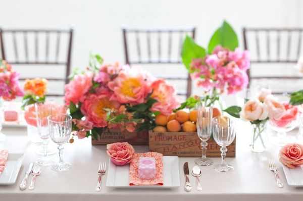 spring-wedding reception centerpiece pink peach wedding flowers