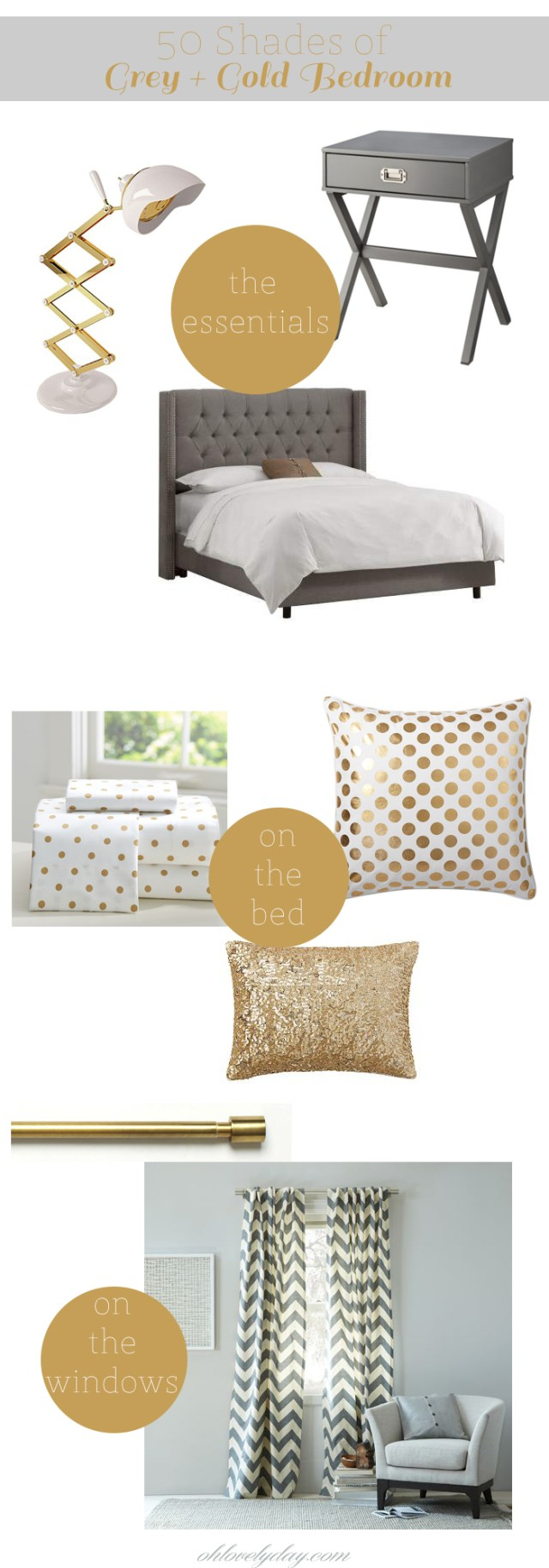 Grey + Gold Bedroom Inspiration