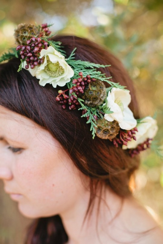 winter floral crown DIY